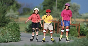 Children wearing helmets